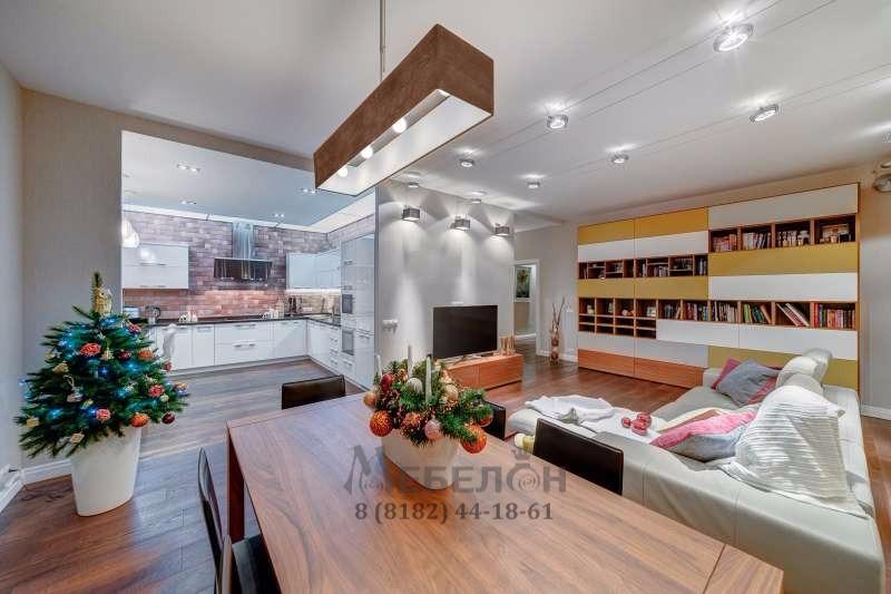 Кухня с кварцевой столешницей и интегрированной мойкой